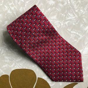 Tommy Hilfiger Red Blue Silk Professional Mens Tie